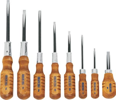 Eight hollow-ground screwdrivers are made to fit sight screws, guard screws, floor plate, etc. Square shanked blades hardened and tempered to Rockwell C52-56, guaranteed not to twist or chip. Handles are turned from quality hardwood and attractively stained. - $39.99