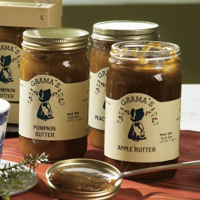 These holiday packs make great gifts, but keep one for your home, too. The three-pack butter crate has three 9.6-oz. jars, one each of apple butter, peach butter, and pumpkin butter. - $22.99