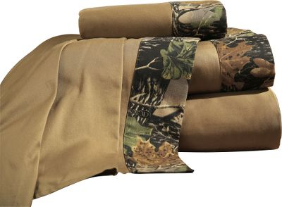 Entertainment With a vivid design by a renowned wildlife artist, our exclusive Seclusion 3D camo is more than just a hunting tool its also a welcome addition to any sportsmans bedroom. Includes flat sheet, fitted sheet and two pillowcases (Twin includes one pillowcase, King includes two King pillowcases). All are 250-thread-count 100% cotton sateen; hem on flat sheet and pillowcase is a brushed 65/35 polyester/cotton blend. Machine wash cold, tumble dry low. Imported. Available: Twin; Flat (66 x 97), Fitted (39 x 75 x 15), Pillowcase (21 x 30) Full; Flat (81 x 97), Fitted (54 x 75 x 15), Pillowcase (21 x 30) Queen; Flat (90 x 102), Fitted (60 x 80 x 15), Pillowcase (21 x 30) King; Flat (108 x 102), Fitted (78 x 80 x 15), Pillowcase (21 x 40) Camo pattern: Cabelas Seclusion 3D. Size: TWIN. Color: Camo. Type: Sheet Sets. - $49.99