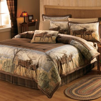 Hunting Wouldnt it be nice if the last things you saw before drifting off to sleep at night were dream-inspiring images of ducks? Thats exactly what will happen when your bed is adorned with one of this handsome wildlife set. Includes comforter, bed skirt and two shams (Twin includes one sham; King includes two King shams). Comforter face is printed, brushed 65/35 polyester/cotton twill. Backing is soft 180-thread-count 50/50 polyester/cotton. Bed skirt is brushed 65/35 polyester/cotton twill with a 15 drop. Sham face has the same construction as the bed skirt, while the backing is a 180-thread-count 50/50 polyester/cotton. Machine wash cold, tumble dry low. Do not dry-clean. Imported. Sizes: Twin (68 x 90) Full (80 x 90) Queen (92 x 96) King (110 x 96) Pattern:Crow River Ducks. Size: QUEEN. Color: Crow River Ducks. Type: Bedding Sets. - $44.88