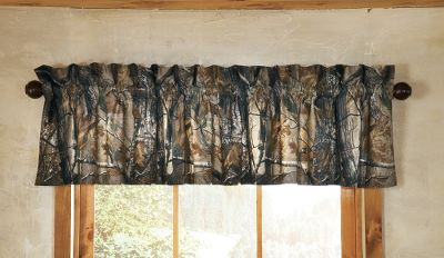 Entertainment This Cabelas Grand River Lodge Mossy Oak Break-Up Camo Valance will dress up your bedroom with the lifelike, natural look offered by a popular camo pattern. Constructed of a 65/35 polyester/cotton blend. Imported. Dimensions: 88W x 15H. Camo pattern: Mossy Oak Break-Up. Color: Camouflage. - $24.99