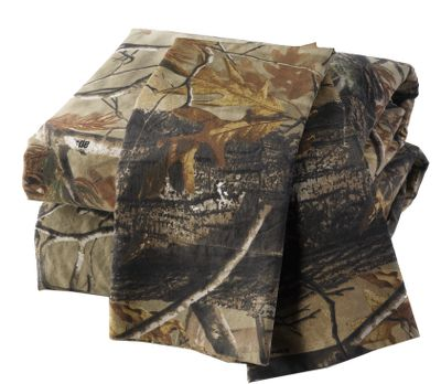 Entertainment These Cabelas Grand River Lodge Mossy Oak Break-Up Camo Sheet Sets will dress up your bedroom with a lifelike, natural-looking camo pattern. These 230-thread-count, 100% cotton sateen sheets will withstand many washings. Sheet set includes a flat sheet, fitted sheet and pillowcase. Machine wash cold. Imported. Available: Twin - Flat (66 x 97), Fitted (39 x 75 x 14), Pillowcase (21 x 30) Full - Flat (81 x 97), Fitted (54 x 75 x 15), Pillowcase (21 x 30) Queen - Flat (90 x 102), Fitted (60 x 80 x 15), Pillowcase (21 x 30) King - Flat (108 x 102), Fitted (78 x 80 x 15), Pillowcase (21 x 40) Camo pattern: Mossy Oak Break-Up. Size: TWIN. Color: Camouflage. Type: Sheet Sets. - $59.99