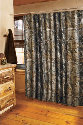Entertainment Dress up your bathroom with the lifelike, natural look offered by a popular camo pattern. Constructed of a 65/35 polyester/cotton blend. Liner not included. Machine washable. Imported. 72H x 72W. Camo patterns:Realtree XTRA, Realtree MAX-4, Mossy Oak Break-Up, Realtree AP. Color: Realtree Ap. Type: Shower Curtains & Accessories. - $29.99