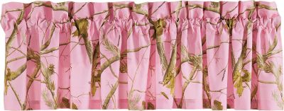 Entertainment Only Cabelas Grand River Lodge Series could bring you world-class dcor in your favorite camo patterns with premium quality. This valance is made of brushed twill to match the Grand River Lodge Camo Bedding Collection and coordinate your bedroom dcor. Machine washable. Imported. Dimensions: 15H x 88W. Colors: Pink, Black. Color: Pink. - $24.99