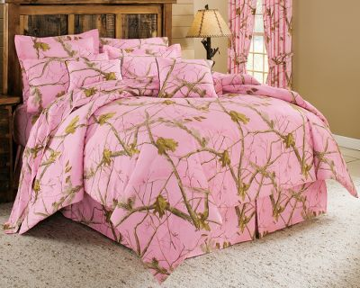 Entertainment Only Cabelas Grand River Lodge Series could bring you world-class bedding in your favorite camo patterns with premium quality and unbeatable comfort. This collection was developed to offer true value with top-grade fabrics, expert construction and the latest finishing processes for a five-star look and feel. 10-Piece Sets include comforter, bed skirt, two shams (Twin includes one sham), two toss pillows, fitted sheet, flat sheet and two pillowcases (Twin includes one pillowcase). Each generously sized comforter features a 65/35 polyester/cotton brushed twill face with 180-thread-count, 50/50 cotton/polyester backing and 100% polyester fill insulation for lofty softness and cozy warmth. The bed skirts all have a 50/50 cotton/polyester platform and a brushed twill drop that matches the look and texture of the comforter. The shams and toss pillows feature the same brushed twill face and smooth backing as the comforter. Sheets are made of 230-thread-count, 100% cotton sateen for crisp, silky softness. All items are machine washable. Imported. Comforter sizes: Twin (68 x 90) Full (80 x 90) Queen (92 x 96) Fitted sheet sizes: Twin (39 x 75) Full (54 x 75) Queen (60 x 80) Flat sheet sizes: Twin (66 x 97) Full (81 x 97) Queen (90 x 102) Bed skirt sizes: Twin (39 x 75) Full (54 x 75) Queen (60&quo Size: TWIN. Color: Pink. Type: Camo Bedding. - $169.99