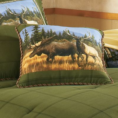 Entertainment An all-too-familiar tree line, a distant mountain backdrop and an up-close gathering of North Americas most celebrated big-game animals. Decorative pillow has a 65/35 polyester/cotton cover with 50/50 polyester/cotton back. Spot clean pillows. Note: Pillow image may vary from depiction. Imported. Dimensions: 18 x 18. Type: Decorative Pillows. - $11.88