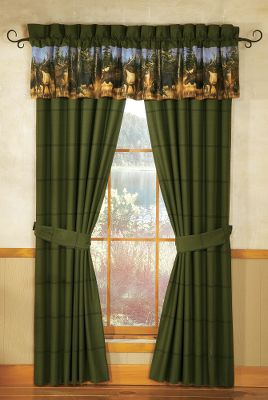 Entertainment An all-too-familiar tree line, a distant mountain backdrop and an up-close gathering of North Americas most celebrated big-game animals. The drapes have 65/35 polyester/cotton covers with 50/50 polyester/cotton backs. Valance sold seperately. Imported. Per 2.Dimensions: 42 x 84. Type: Drapes. - $29.88