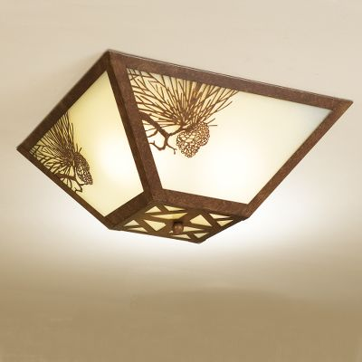 Add a touch of rustic appeal and shed light in your home or cabin with an outdoor accented ceiling light. This flush-mounted fixture features metal pine cone relief on frosted glass. Mounting hardware included, and it is easy to install. Finished in bronze color. Requires two 60-watt bulbs, not included. Imported. Dimensions: 7 H x 17 W. Color: Bronze. - $99.99