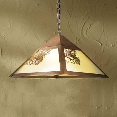 Entertainment Add a touch of rustic appeal and shed light in your home or cabin with an outdoor accented ceiling light. This Hanging Pine Cone Pendant Light features metal pine cone relief on frosted glass. Mounting hardware included, and it is easy to install. Finished in bronze color. Requires one 100-watt bulb, not included. Imported. Dimensions: 10 H x 17 W. Color: Bronze. - $99.99
