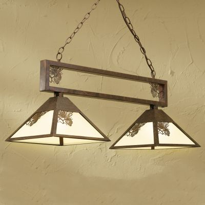 Entertainment Add a touch of rustic appeal and shed light in your home or cabin with an outdoor accented ceiling light. This hanging fixture features metal pine cone relief on frosted glass. Mounting hardware included, and it is easy to install. Finished in bronze color. Requires two 100-watt bulbs, not included. Imported. Dimensions: 16-1/2 H x 35-1/2 W x 12 D. Color: Bronze. Type: Ceiling Lights. - $99.88