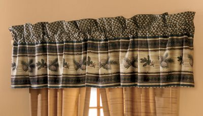Entertainment Complete your bedroom window treatment with a Valance that matches the Alpine Trail Bedding Collection. Valance is made of 100% cotton, 230-thread-count sateen. Machine washable. Imported. Size: 88 x 15 with a 3 header. Gender: Male. Age Group: Adult. - $24.99
