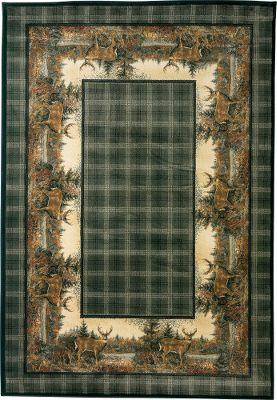 Hunting Our exquisite Grand River Lodge Hautman Area Rug is sure to add class and outdoor flare anywhere you lay it. Truly a work of woven art. Its stain-resistant and has a 10-color heat-set olefin yarn face with four-side overlock serging and jute-cotton backing. Provides outstanding design clarity and long-lasting durability. Cleaning is easy with a vacuum, or spot clean using mild detergent in water. Imported. 53 x 76. Designs: Scenic Cabin, Crow River Ducks, Big Game, Evening Whitetail, Buck, Moose. - $179.99