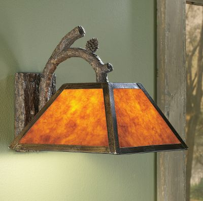 These rustic-style lights feature amber mica shades that give off a soft hue for a pleasant, warm ambience. The tops of the shades are accented with pine-cone crowns. Bulbs not included. Consult your local electrician for any wiring modifications. Imported.Dimensions: 12H x 12W x 15D. - $69.99