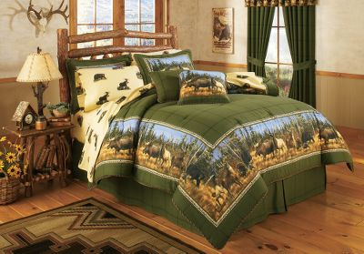Entertainment An all-too-familiar tree line, a distant mountain backdrop and an up-close gathering of North Americas most celebrated big-game animals. The comforter boasts a soft, brushed 65/35 polyester/cotton cover with a warm 100% polyester filling. The shams have a 65/35 polyester/cotton cover with 50/50 polyester/cotton back. The bed skirt has a 15 drop, and its made of 65/35 polyester cotton with a 50/50 polyester/cotton platform. Comforter and shams are machine washable, tumble dry low. Includes comforter, bed skirt, two shams (Twin includes one sham; King includes two King shams), two toss pillows, one fitted sheet, one flat sheet and two pillowcases (Twin includes one pillowcase). Imported. Sizes: Twin (68 x 90) Full (80 x 90) Queen (92 x 96) King (110 x 96) Size: TWIN. Type: Bedding Sets. - $159.99