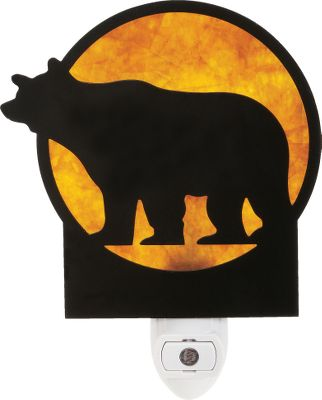 Hunting Night light projects a soft, warm glow through the mica backing and rustic bronze metal silhouette. Turns on automatically when the lights go out, ensuring there is always an illuminated path. Available in four cozy, soothing styles. Approx. 5-78H x 4-12W. Runs on included 5-watt bulb. Imported. Available: Bear, Pine Cone, Deer, Tree. - $6.88