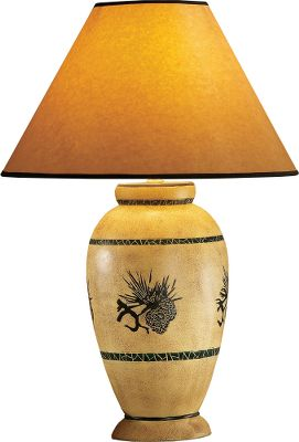Hunting With the look of fine pottery and outdoor-themed imagery, these lamps display inviting down-to-earth charm. The bases are actually made of polyresin with a finish thats hard to distinguish from that of quality pottery glaze. The wilderness images appear on a beige base background accented with two forest green stripes. The oil-paper shade sports a black band and casts a warm glow. These lamps are operated by a three-way switch and can accept bulbs (not included) up to 150 watts. This lamps earth-tone coloring will complement the dcor of any living room, den or bedroom. Overall dimensions with shade are 23-1/2H x 16 dia. UL-listed. Imported. Available: Pine Cone. Color: Forest Green. - $52.88