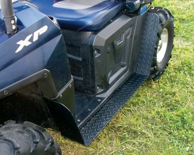 Entertainment Stop worrying about your ATV tires slinging mud and water onto you and your passenger. Built of 1/8 aluminum for models 400 and 800 Polaris Rangers, these running boards provide additional footing and protect from whatever your tires might fling. Black powder-coat enamel. Install using factory fasteners. Drilling and assembly may be required.Weight: 10 lbs.Dimensions: 6H x 27W x 24D. - $129.99