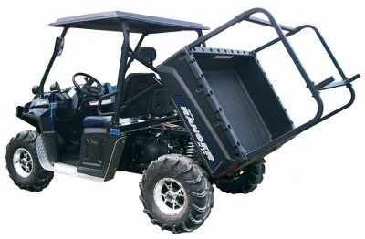 Extend your UTV cab frame for transporting bulky, lightweight equipment like canoes, ladders or lumber. This rack mounts in the bed of your UTV and is constructed of 1-1/2 aircraft aluminum. Easily assembles and installs with hand tools. Includes two cinch straps and an eyebolt tie-downs mounted at the rear of the frame. Unique design allows UTV dump beds to function with rack installed. Rated for loads up to 100 lbs. Made in USA.Available: Check chart for compatibility with your UTV. - $179.99
