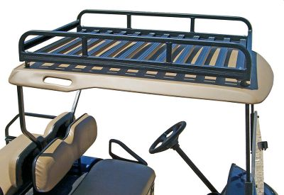 Mount a roof rack on your custom cart to transform it into a handy utility vehicle for yard chores. Rather than hauling bulky equipment in the passenger seat, stow it on the roof. Constructed of aircraft aluminum, and weighing only 14 lbs., this rack easily installs with common hand tools. At 50L x 30W x 7H, and with multiple tie-down points, securing larger loads for transport is simple. Includes four 2 spacers for mounting on multiple models of custom carts. Baked-on black enamel protects the rack from rust. Rated for loads up to 50 lbs. Made in USA. Available: Cart Roof Rack Cart Front Rack Cart Mag Rack Size: CART FRONT RACK. Color: Black. - $179.99