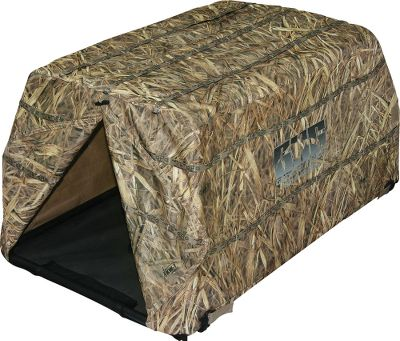"Hunting At 17"" tall, it's one of the lowest-profile dog blind on the market. Set up and tear down in seconds with the spring-loaded top. The aluminum-alloy frame will last for years. Front and rear entrances. Stakes included.Weight: 6.5 lbs.Camo pattern: KW-1 . - $99.88"