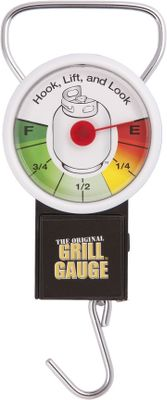 Camp and Hike No more worries about running out of propane in the middle of a cookout. This handy gauge lets you know exactly how much gas is left in a standard 20-lb. propane tank just lift and take a reading. No need to disconnect the hose to your tank to view its contents. Engineered and calibrated for precise measurements. No batteries required. - $10.88