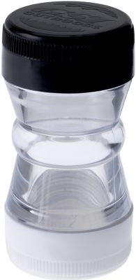 Camp and Hike Salt and Pepper Shaker is waterproof with twin compartments. Color: Clear. Type: Spice Containers. - $5.99