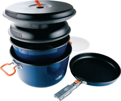 Camp and Hike A compact cookware set that performs equally well on a backcountry trip or a family outing. Two-layer, Teflon-coated aluminum construction delivers even heat distribution and durable nonstick performance. High-temperature paint finish protects the aluminum core from abrasion and oxidization. Locking double-bail handles secure the entire nested set for convenient storage and carry. A crushproof, heat-resistant strainer lid and silicone ring resists deformation. Cook set includes 5-liter pot, 3-liter pot, 9 fry pan, two strainer lids, cutting board, folding pot gripper and mesh stuff sack. Weight: 3.23 lbs. Dimensions: 6H x 10 dia. Color: Blue. Type: Cookware Sets. - $84.99