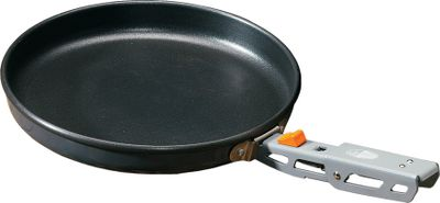 Camp and Hike A versatile, heavy-gauge, nonstick frying pan thats perfect for camping and cooking outdoors. Constructed of light, yet strong aluminum with a nonstick coating, it has an even-heating cooking surface. Its spiral-turned base grips stoves and grills securely. Outfitted with SureLock folding handle. Dimensions: 11.1 x 10.6 x 2.7. Weight: 17.7 oz. Color: Gray. Type: Skillets. - $26.99