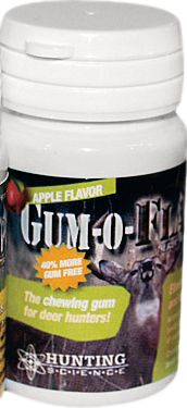 Hunting Cover the scent of your breath with Gum-O-Flage Uses chlorophyll and antimicrobial agents, along with other natural odor-fighting ingredients, to cover scent. Sugar-free. 20 pieces per pack. Apple flavor/scent. Type: Scent Control. - $6.99