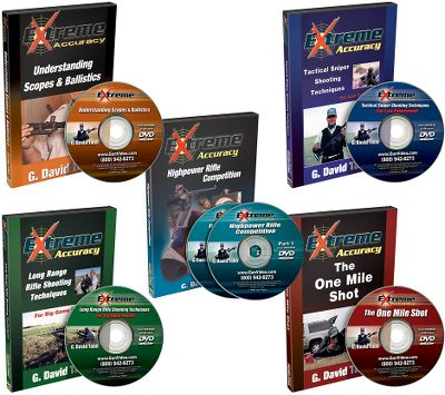 Extreme If you're interested in improving your marksmanship or even becoming a long-range shooter, you couldn't find a better selection of training and informational DVDs from G. David Tubb. Get all five of the Extreme Accuracy DVDs in one money-saving combo. Includes:Extreme Accuracy High Power Rifle Competition Extreme Accuracy Understanding Scopes and Ballistics Extreme Accuracy Tactical Sniper Shooting Extreme Accuracy The One Mile Shot Extreme Accuracy Long-Range Rifle Shooting - $129.99