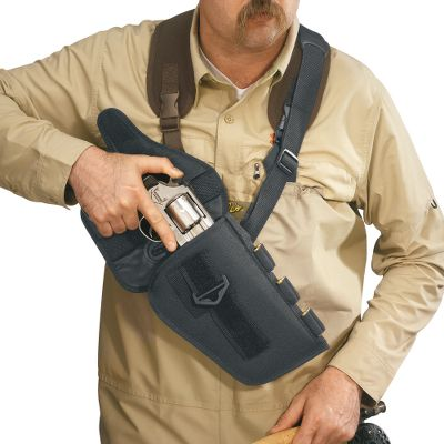 "Wear as a right- or left-hand shoulder holster or a belt holster. Shell loops sewn directly into the holster. Removable retention flap included. Rugged Cordura nylon.Available:Fits medium and large frame revolvers and autos with barrels up to 6"" long. Fits medium and large frame revolvers and autos with barrels up to 8-1/2"" long. Fits medium and large frame revolvers and autos with barrels to 10-1/2"" long. Color: Black. - $14.88"