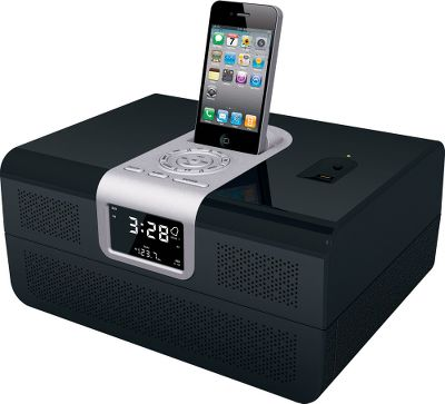 Wake The nightstand organizer that keeps your valuables and handgun secure plus lets you wake to your favorite music. The docking station fits most MP3 players and iPhones. Pistol vault below the digital clock features a biometric fingerprint-recognition lock to keep children and thieves from accessing the contents.Dimensions: 13.25L x 10W x 7H. - $299.88