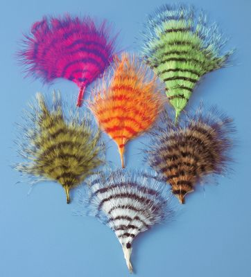 Flyfishing Barred marabou feathers are excellent for tails, wings and wound collars. Approximately twenty 3-4 feathers per pack.Colors: Fuschia, Chartreuse, Orange, Olive, Tan. - $4.99