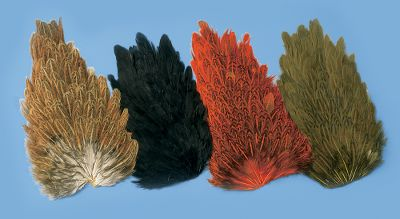 Flyfishing Excellent feathers for tying soft hackle flies, wing cases, wings and collars. Colors: Brown, Black, Crawdad Orange, Olive. Color: Orange. - $5.99
