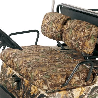 Hunting These custom fit polyester seat covers will slip right over your existing seats. Easy to remove and wash. Imported.Camo patterns/Color: Realtree MAX-4, Mossy Oak Break-Up Infinity, Black (not shown). Year: 95-09. Type: Golf Cart Polyester Camo Seat Covers. Model: Front Seat. Make: EZ GO. Color/Camo Pattern: Mossy Oak Break-Up Infinity . H155ef. Size Infinity. - $69.99