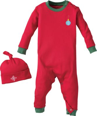 This sleeper suit and night cap combo will keep your little one warm and cozy. Made of 100% combed cotton. Features shoulder placket with snap closure and inseam snap closure for easy changing. Includes a matching cap. Snug fit. Imported. Sizes: 3-6 mo., 6-12 mo., 12-18 mo., 18-24 mo. Designs: Ornament, Labs on Blue, Labs on Pink. - $19.88