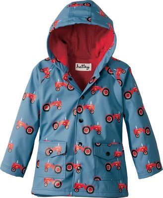 Perfect for rainy-day fun, this raincoat features an adorable design. Its waterproof, PVC-free polyurethane shell is lined with 100% cotton for pleasantly dry softness. Front snap closure blocks rain and offers parent-friendly buttoning. Two handwarmer pockets. Imported. Size: 2T. Color: Farmer Jack. Gender: Female. Age Group: Kids. Material: Cotton. Type: Rain Jackets. - $26.88