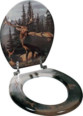 Hunting Let the spectacular wildlife art of the renowned Hautman Brothers brighten up your bathroom. The durable composite-wood construction gleams with a high-gloss enamel finish. Fits most 15-1/2 toilets. Heavy-duty mounting hardware included.Available: Elk Bear Moose Deer - $49.99