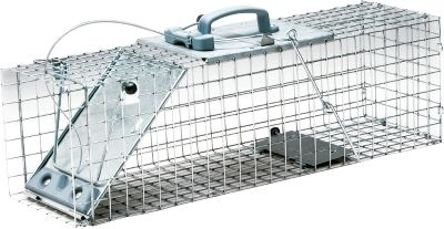 Hunting These cage traps are made for the occasional needs of homeowners and gardeners. The new design makes it a snap to set and release with just one hand. The sturdy wire mesh is galvanized for maximum resistance to rust and corrosion. Smaller mesh openings allow for fewer escapes. Fully assembled and ready for use, Havahart cage traps come in models sized for a variety of animals. Small for rabbits, squirrels and skunks. Large for armadillos, raccoons and woodchucks. Available: Small - 25-1/8 L x 9-1/4 W x 9-3/8 H exterior. Large - 32-3/8 L x 11-3/4 W x 14-1/2 H exterior. Color: Rust. - $79.99