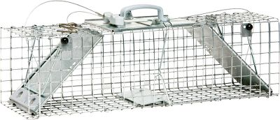 Hunting Designed and tested by professional trappers, this live traps revolutionary construction is easy to set and release. A humane answer to your problems with rabbits, skunks or other small animals. Made in USA. Dimensions: 25L x 7W x 7H. Size: M. - $59.99