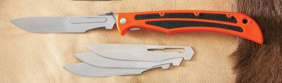 Camp and Hike The Quick-Change blade system eliminates the frustration of cutting with a dull blade and the time-consuming process of sharpening in the field. Microhoned to a hair-splitting edge, the Japanese stainless steel blades breeze through skinning and filleting chores. It has a thick, lightweight ABS handle in bright orange with black rubber inserts for a better grip, an open back for easy cleaning, ambidextrous thumb studs for easy opening, liner lock construction and a removable pocket clip. Compatible with Baracuta #115interchangeable blades and handles. Replacement blades are also available. Imported. Available: Baracuta Blaze Skinning Knife Blade length:4-3/8. Overall length:10-3/8. Weight: 3 oz. #115 Replacement blades per 5 Color: Gray. Type: Knives. - $17.99
