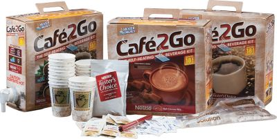 Camp and Hike Self-heating beverage kit comes with everything you need to enjoy satisfying, hot beverages anytime, anyplace just add potable water. Each kit serves 18 cups of your favorite beverage. Available: Nescaf Tasters Choice coffee. - $24.88