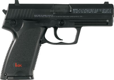 "This high-capacity, semiautomatic air pistol has the authentic look of a HK USP. Its 22-shot magazine also holds the CO2 cartridge. Ambidextrous magazine release. Shoots .177 BBs only at up to 360 fps. Realistic hammer action. Full metal slide. Fixed front and rear sights. Built-in accessory rail. Uses 12-gram nonthreaded disposable CO2 cylinders. Under normal conditions, pistol will get 185 shots per CO2 cylinder.Barrel length: 4"".Overall length: 7 1 2"".Weight: 2.18 lbs. - $49.99"