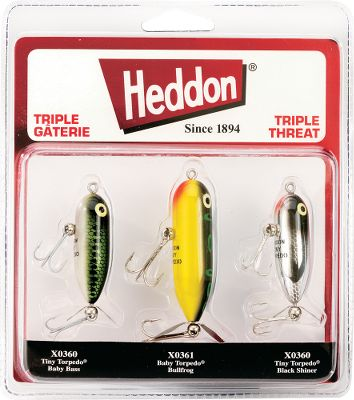 Fishing Deadly when skittered across the shallows or twitched over heavy cover, the classic Torpedo has caught countless bass and pike since it was first introduced. High-quality components including the slow-churning propellers offer proven performance fish after fish. Now get the three most effective colors in one pack. Baby Bass, Bullfrog and Black Shiner. Color: Black. - $7.88