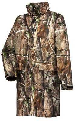 Hunting Lightweight, waterproof and quiet, this knee-length coat is ideal for wet-weather hunts. .24mm stretch-polyester backing with stretch-polyester coating offers a 200% stretch factor for optimum freedom of movement. Generously cut for adding layers underneath without restricting articulation. Side zippered access to inner garments. Back cape design provides ample ventilation. Attached hood tucks into the collar when not in use. Front zipper features a snap storm flap for added protection from the elements. MicroWeld seam construction offers rugged, waterproof performance. Two waterproof handwarmer pockets conveniently placed on the front. Adjustable hook-and-loop sleeve cuffs. Includes a mesh carrying bag. Imported.Sizes: XS-4XL.Camo pattern: Realtree AP - $124.00