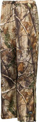 Hunting Lightweight, waterproof and quiet, these pants are ideal for wet-weather hunts. .24mm stretch-polyester backing with stretch-polyester coating offers a 200% stretch factor for optimum freedom-of-movement. Double-layer Impertech is double-stitched and welded on seat and knees for longevity. MicroWeld seam construction provides rugged, waterproof performance. Elastic waistband with drawcord for a custom fit. 13 boot zipper with snap adjustment at hem for easy on and off. Includes a mesh carrying bag. Imported.Sizes: XS-4XL.Camo pattern: Realtree AP - $90.00