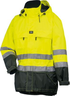 Entertainment The extreme weather protection and 24-hour visibility on this Jacket highlight some of the reasons workers trust Helly Hansen apparel for performance and safety on the job. The Jacket meets ANSI standards for high-visibility safety and protection from blood-borne pathogens. Worker-friendly features included click.on loops for additional accessories and an extended back for extra wet-weather protection. Abrasion-resistant, heavyweight polyester shell with nylon lining. Detachable hood with a drawcord adjustment built specially to hold a hard hat. Zippers under sleeves provide extra ventilation when the weather heats up. Storm flap with a zip and Velcro closure. Elastic cuffs with Velcro adjustment. Two chest pockets with zippered closures. Mobile pocket with pen pocket on right chest. Convenient map pocket under storm flap. Drawcord adjustment at the waist and hem. Reflective tape. Imported. Sizes: XS-4XL. Colors: Orange/Navy, Yellow/Charcoal. - $156.00