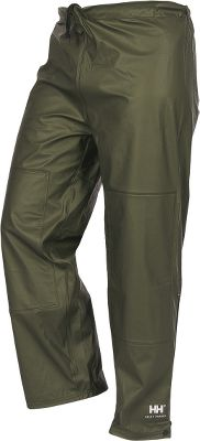 Camp and Hike Stay dry in the wettest environments in a pair of Helly Hansen Mens Impertech II Waist Pants. MicroWeld seam construction, .24mm circular-knit polyester fabric and a stretch polyurethane coating deliver 100% waterproof protection. A double layer of Impertech fabric is edge-stitched and welded on the seat and knees for long-wearing durability. Comfortable elastic waistband with a drawcord and snap adjustments at the hems provide the perfect fit. 13 zipper. ASTM F1671-certified and blood-borne-pathogen tested. Imported. Sizes: XS-4XL. Color: Dark Olive. Size: X-Large. Color: Dark Olive. Gender: Male. Age Group: Adult. Material: Polyester. Type: Pants. - $39.88