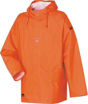No-fail protection from the fiercest elements on the planet. Its heavy-duty, waterproof, PVC-coated shell resists abrasion, acid, chemicals, oil and mildew. A 400-gram, woven-polyester liner offers warmth, long-lasting durability and comfort. Double storm flap with snap closure keeps wind-driven rain out. ASTM F2302 certified for flame and heat resistance. ASTM F1671 certified for blood-borne pathogen resistance. Two hand pockets for convenience. Drawcord hood for a custom fit. Imported. Sizes: XS-4XL.Color: Fluorescent Orange. - $48.00
