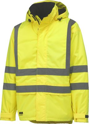 Entertainment The extreme weather protection and 24-hour visibility of this jacket highlight a few of the reasons workers trust Helly Hansen apparel for performance and safety on the job. It meets ANSI standards for high-visibility safety. Polyurethane-coated polyester ensures waterproof, breathable protection, and the 160-gram polyester insulation in the body and 120-gram in the sleeves seals in warmth. Drawcord adjustment at hem and Velcro adjustment on sleeves. Packable hood with drawcord at front, Velcro at back. Extended back for added coverage. Loop inside at hem for ID card. Reflective tape. Chin guard with fleece. Zip closure with storm flap. Interior chest pocket. Two handwarmer pockets. Imported.Sizes: XS-4XL.Colors: Yellow, Orange. - $70.00